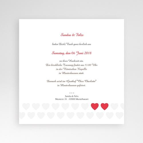 Hochzeitskarten Quadratisch - Zwei Herzen 37487