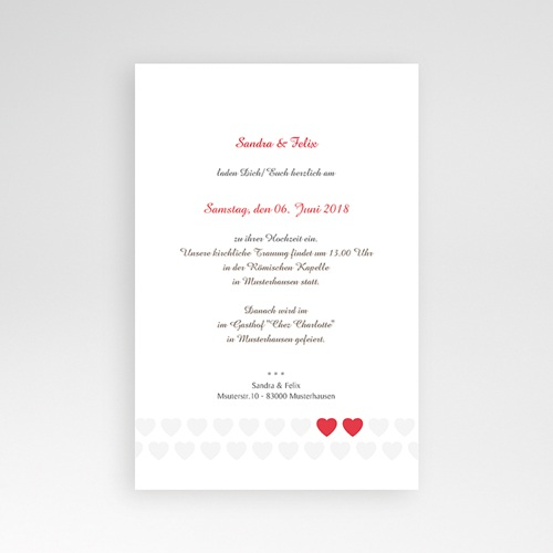 Hochzeitskarten Querformat - Zwei Herzen 37823