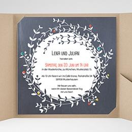 Hochzeitskarten Quadratisch - Blumenkrone - 0