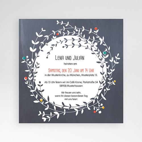 Hochzeitskarten Quadratisch - Blumenkrone 38160