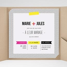Hochzeitskarten Quadratisch - Neon Gelb - 0