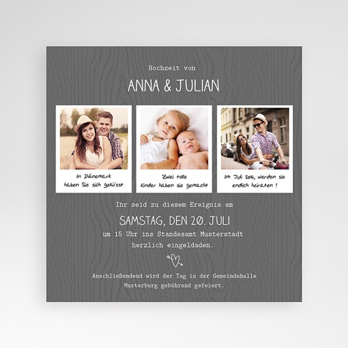 Hochzeitskarten Quadratisch - Fotoroman 38316