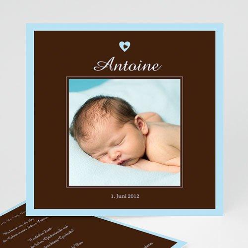 Babykarten für Jungen - Geburtskarte Braun-Blau 3840