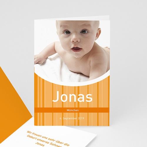 Babykarten für Jungen - Geburtskarte Orange 3864