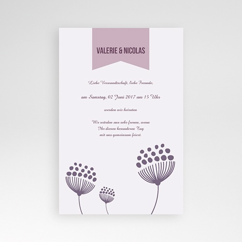 Hochzeitskarten Querformat - Violett 38932