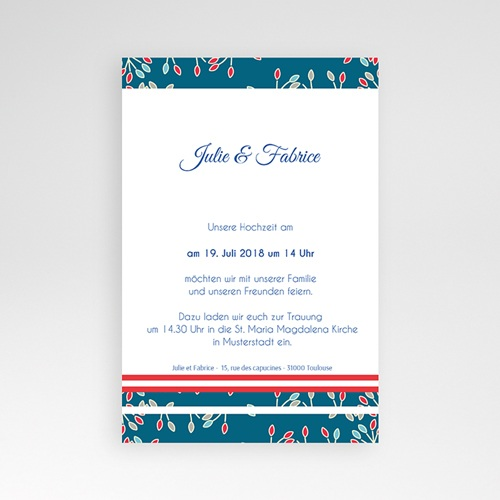 Hochzeitskarten Querformat - Aubusson Stil 38976