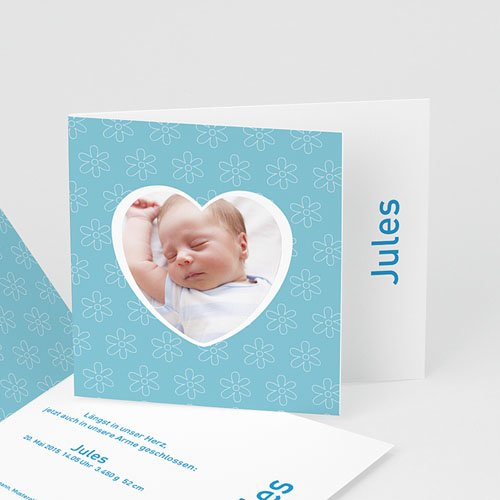 Babykarten für Jungen - Geburtskarte Herzform 3932