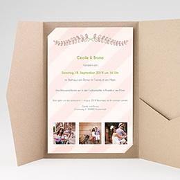 Hochzeitskarten Querformat - Streifendesign - 0