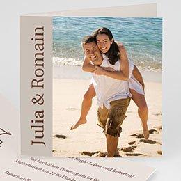 Hochzeitseinladungen modern - Hochzeitskarte Herz pur - 1