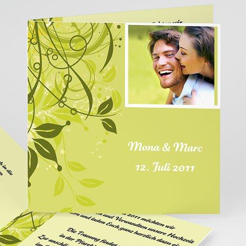 Hochzeitseinladungen modern - Hochzeitskarte Frühling grün 3988