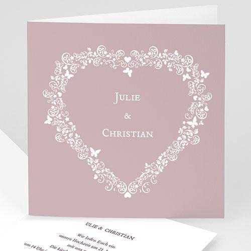 Hochzeitseinladungen modern - Hochzeitskarte Herz 2 3992