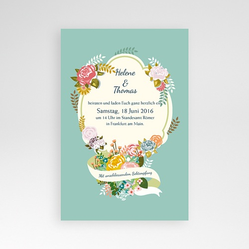 Hochzeitskarten Querformat - Vintage Romantik 40290