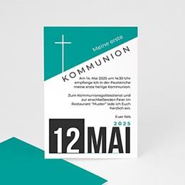 Einladungskarten Kommunion Jungen - Design Kreuz - 0