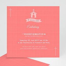 Einladungskarten Konfirmation - Kirche und Banderole - 0