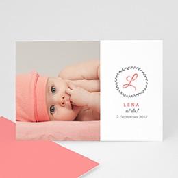 Geburtskarten für Mädchen - Initalien Baby - 0