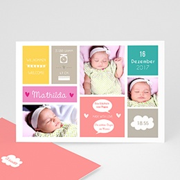 Geburtskarten für Mädchen - Bunte Blöcke - 0