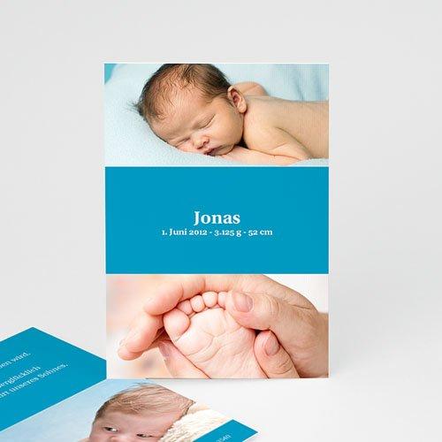 Babykarten für Jungen - Geburtskarte Blau 4098