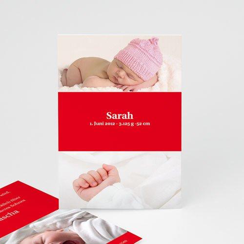 Geburtskarten für Mädchen - Geburtskarte Rot 4102