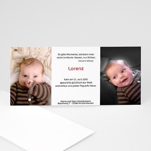 Geburtskarten für Mädchen - Geburskarte Doppelfoto 4120