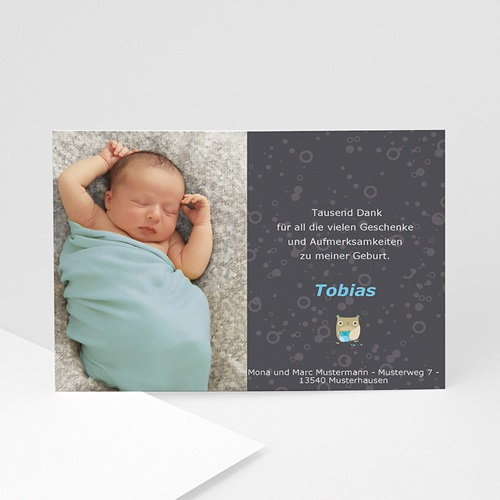 Dankeskarten Geburt Jungen - Danksagung grau-blau 4134