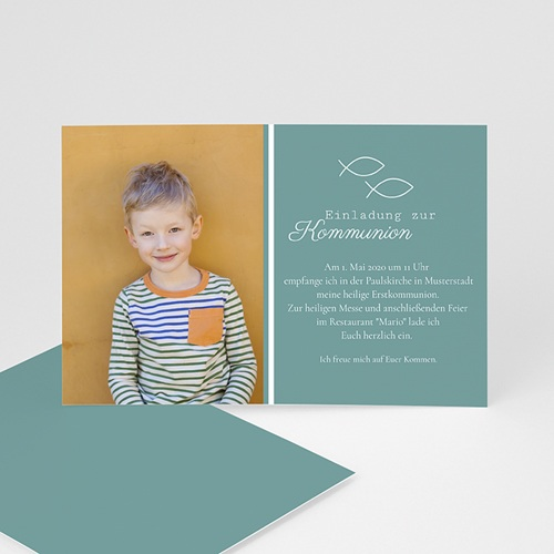 Einladungskarten Kommunion Jungen - Fischsymbol  41932