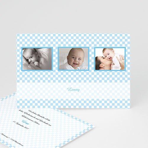 Babykarten für Jungen - Geburtskarte Vichy-Karos blau 1 4206
