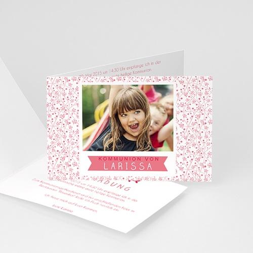Einladungskarten Kommunion Mädchen - Blumig 42092