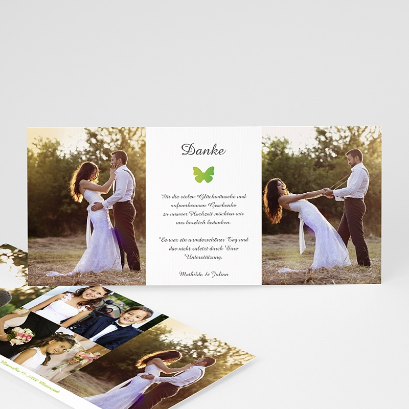 Danksagungstext Hochzeit Originell: Danksagungskarten Hochzeit - Schmetterlinge