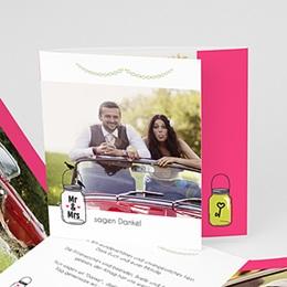 Danksagungskarten Hochzeit  - Motto Pink - 0