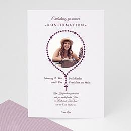 Einladungskarten Konfirmation - Anhänger Kreuz - 0