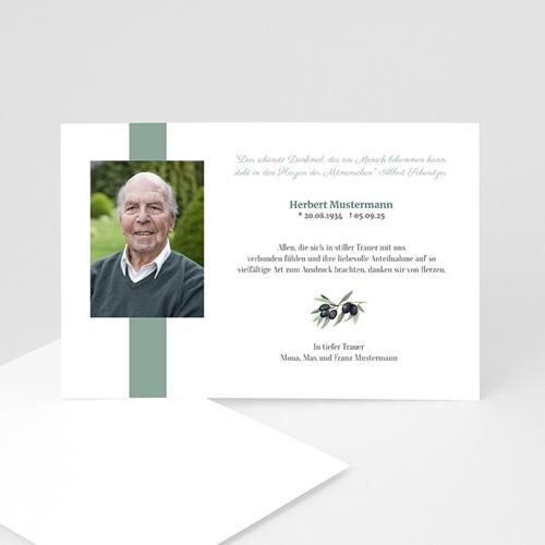 Trauer Danksagung weltlich - Trauerkarte olive 4314