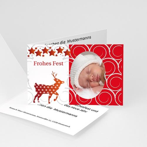 Weihnachtskarten - Weihnachtskarte Rot, Gold und Silber 4368