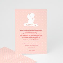 Trauer Danksagung weltlich - Kleiner Engel rosa - 0