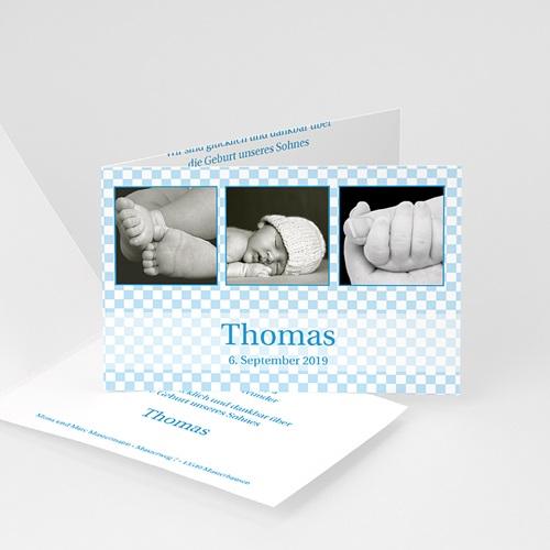 Babykarten für Jungen - Geburtskarte Vichy-Karos blau 4392