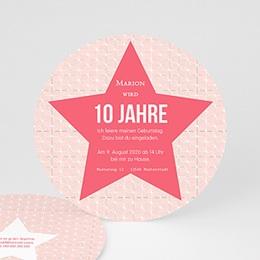 Geburtstagseinladungen Mädchen - Stern rosa - 0