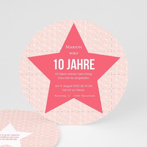 Geburtstagseinladungen Mädchen - Stern rosa 44228