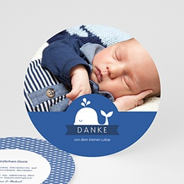 Dankeskarten Geburt Jungen - Kleiner Wal - 0