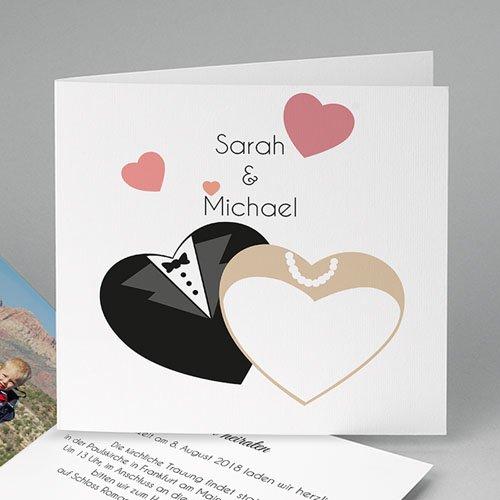 Hochzeitseinladungen modern - Hochzeit mit Herz 44704