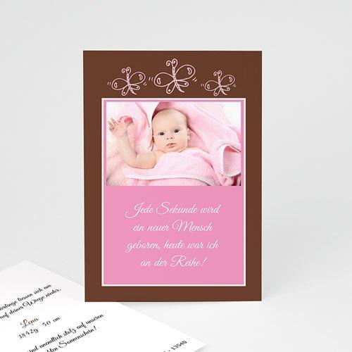 Geburtskarten für Mädchen - Geburtskarte Rosa Schmetterlinge 4478