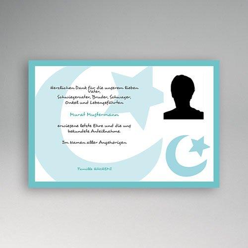 Trauer Danksagung muslimisch - Muslimische Trauerkarte mit Foto 4540