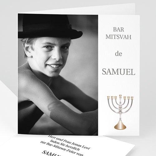 Bar Mitzwah Einladung - Fotokarte mit Menorah 4598