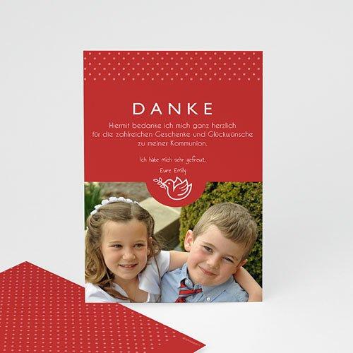 Dankeskarten Kommunion Mädchen - True Red 46578