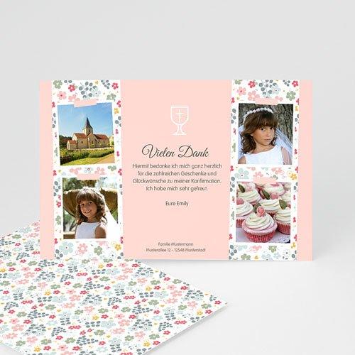Dankeskarten Kommunion Mädchen - Liberty Romantik 46587
