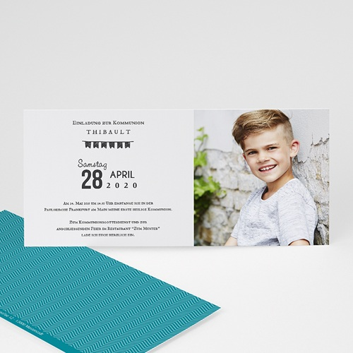 Einladungskarten Kommunion Jungen - Kommunion Pastell 46644