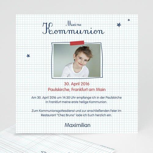 Einladungskarten Kommunion Jungen - Karos 46653