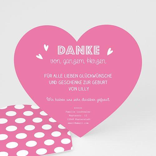 Dankeskarten Geburt Mädchen - Kleines Herz 46803