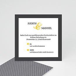 Einlegekarten Hochzeit - Hochzeitskarte grau und gelb - 0