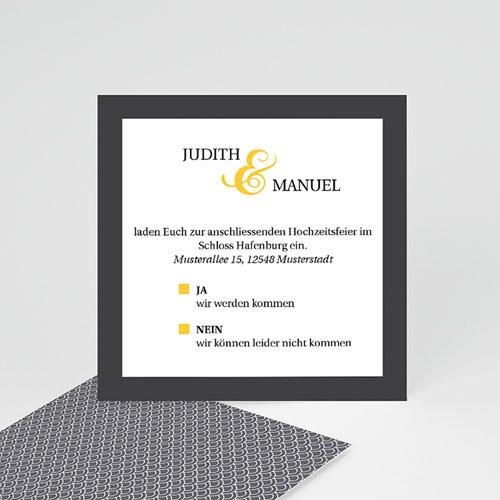 Einlegekarten Hochzeit - Hochzeitskarte grau und gelb 46875