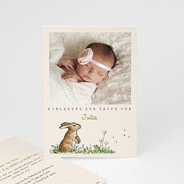 Einladungskarten Taufe Mädchen - Häschen - 0