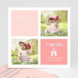 Einladungskarten Taufe Mädchen - Pink und Pastell - 0